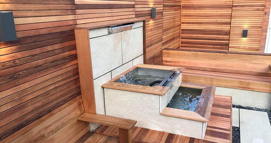 Three tier water feauter built into garden design